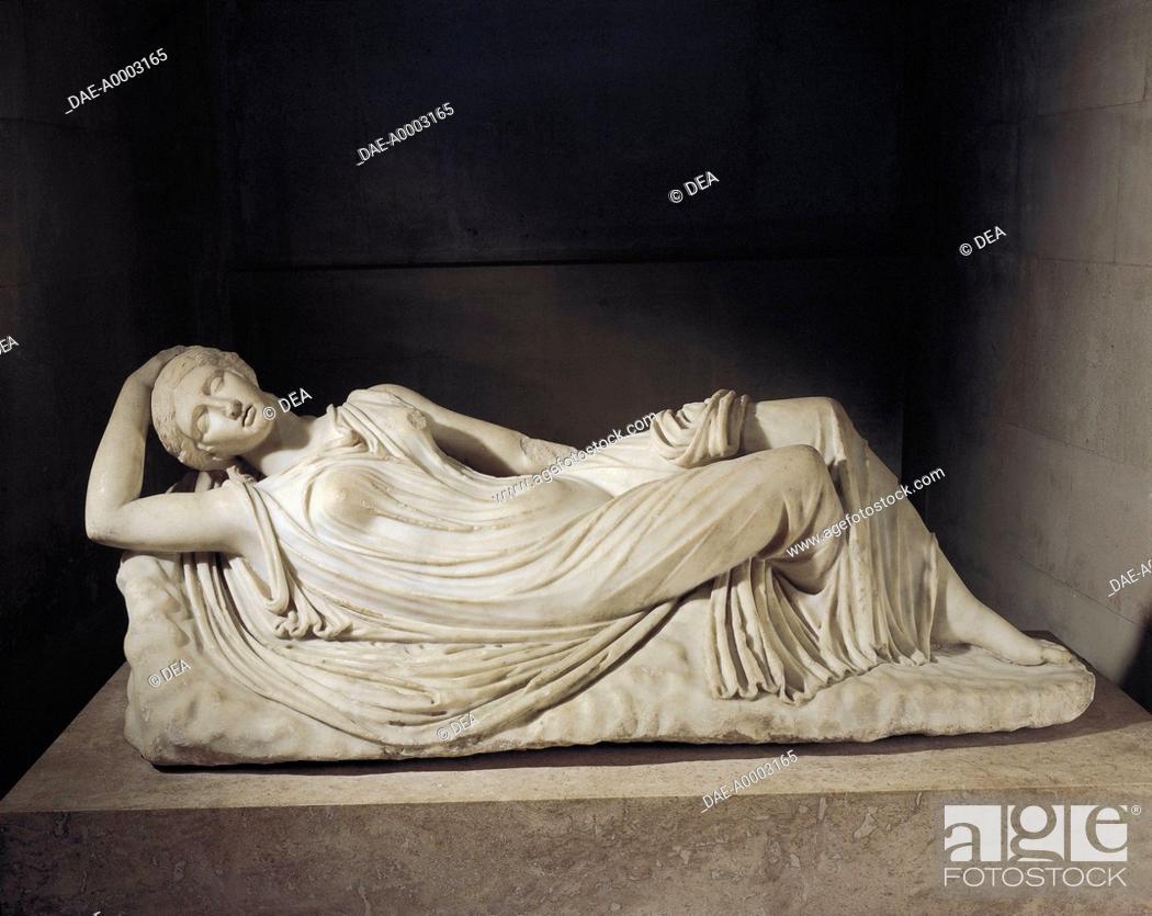 Stock Photo: Roman civilization, 1st-2nd century A.D. Marble statue of sleeping Ariadne, abandoned by Theseus on Naxos.  Paris, Musée Du Louvre.