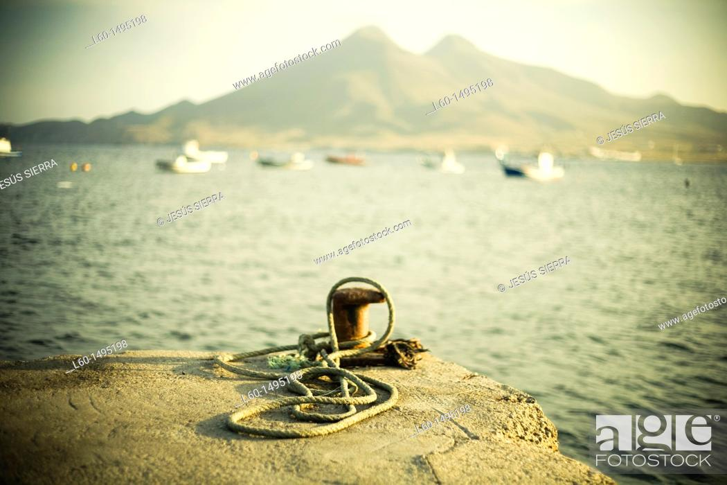 Stock Photo: Harbour in Isleta del Moro, Cabo de Gata, Almeria, Spain.