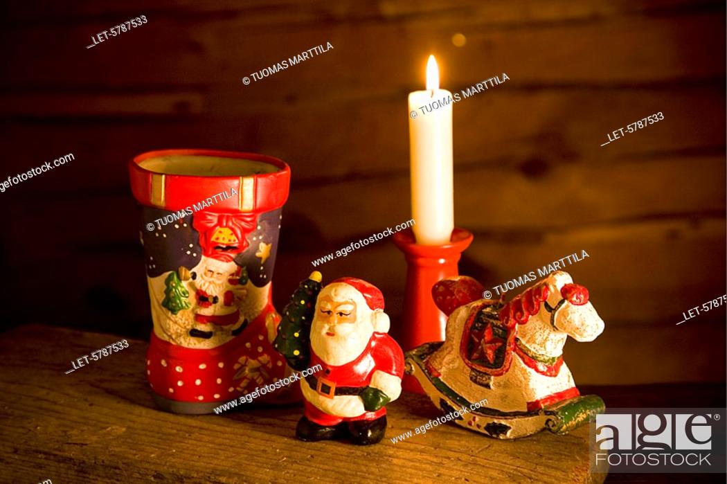 Finland Christmas Decorations.Christmas Decorations With Candle Helsinki Finland Stock