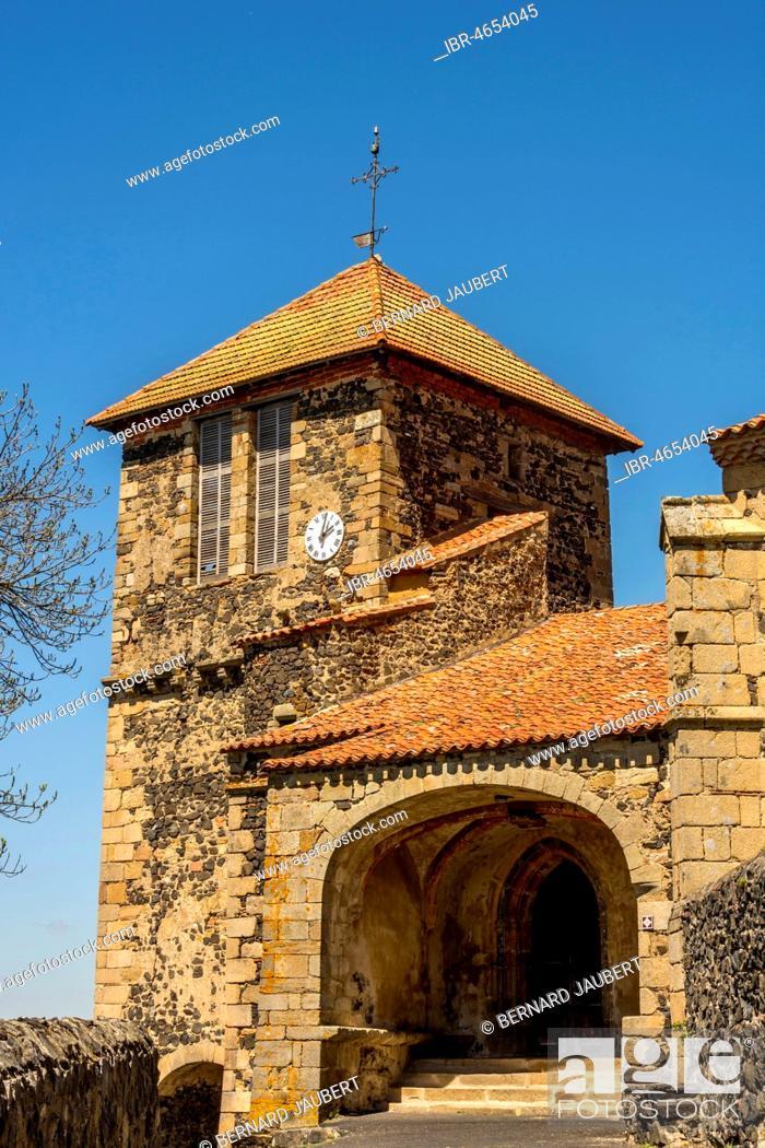 Stock Photo: Church Saint Maurice, Usson, Puy de Dome department, Auvergne, France.
