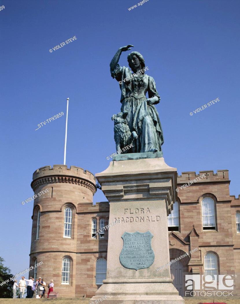 Stock Photo: Castle, Flora macdonald, Holiday, Inverness, Landmark, Scotland, United Kingdom, Great Britain, Statue, Tourism, Travel, Vacatio.