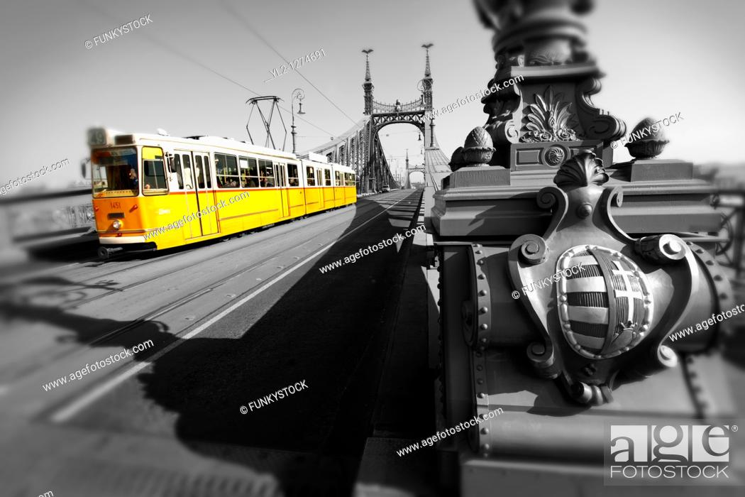 Stock Photo: Trams on the Liberty or Freedom Bridge Szabadság híd,  Budapest, Hungary.