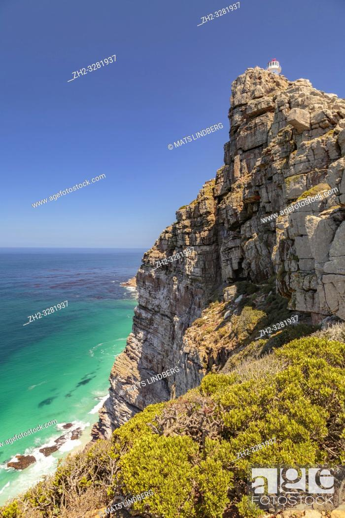 Stock Photo: View at Cape point with bushes and ocean, Cape point, South Africa.
