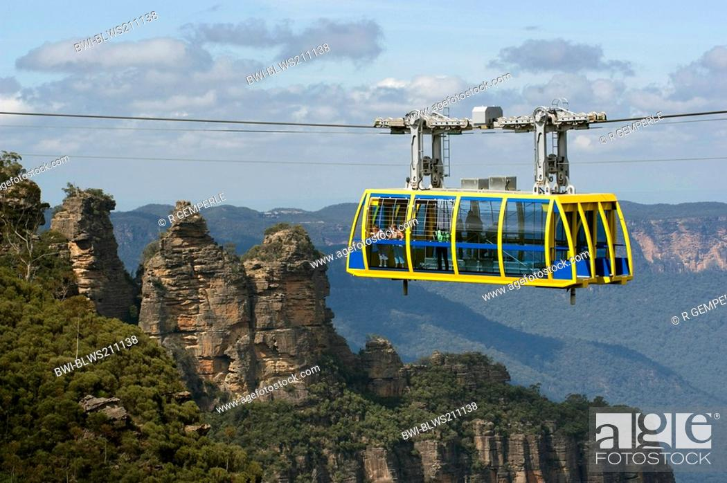 Stock Photo: cable car, sandstone formation The Three Sisters in background, Australia, New South Wales, Blue Mountains National Park.