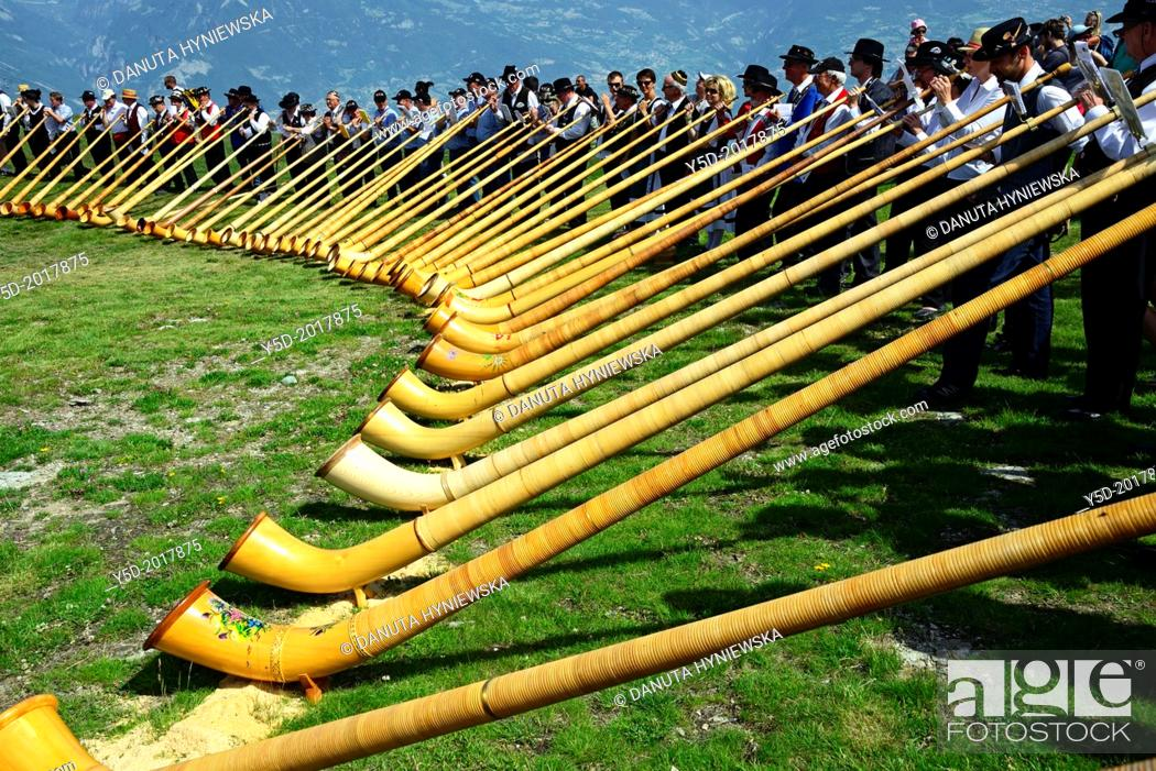 Stock Photo: International Alphorn Festival, 27-29 July 2013 , Nendaz, canton Valais, canton Wallis, Switzerland.