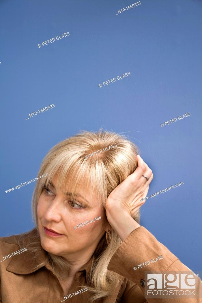 Stock Photo: Middle-age blond woman.