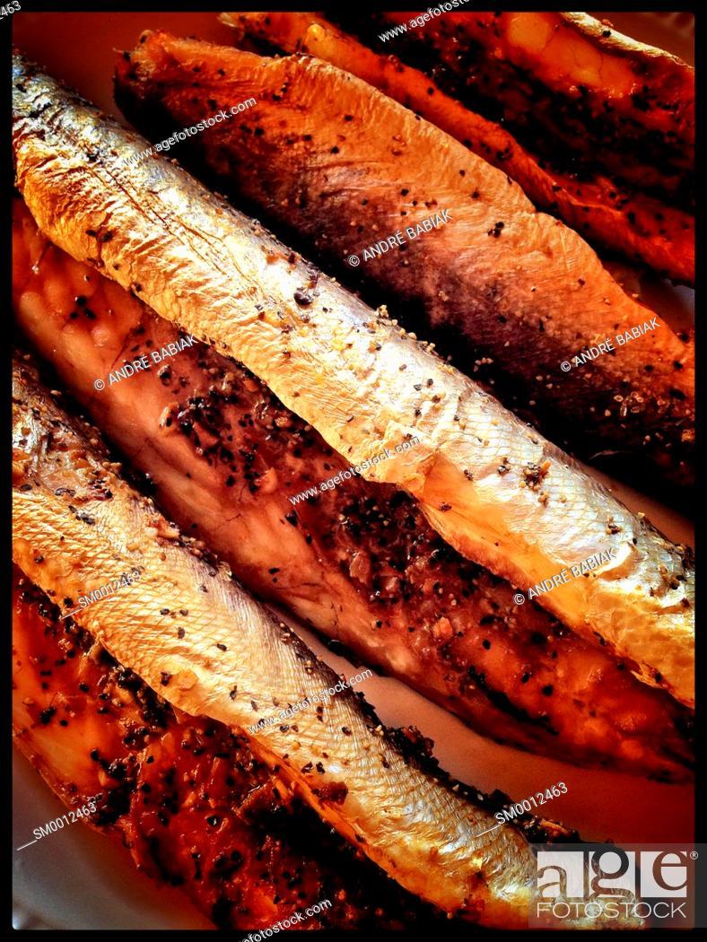 Stock Photo: Smoked barracuda fish.
