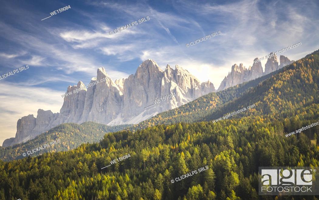 Stock Photo: Odle Mountain view from Funes Valley. Funes Valley, Bolzano Province, Trentino Alto Adige, Italy.