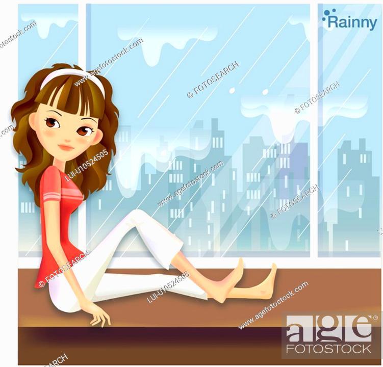 Stock Photo: indoors, seasons, raining, rain spell, summer, city.