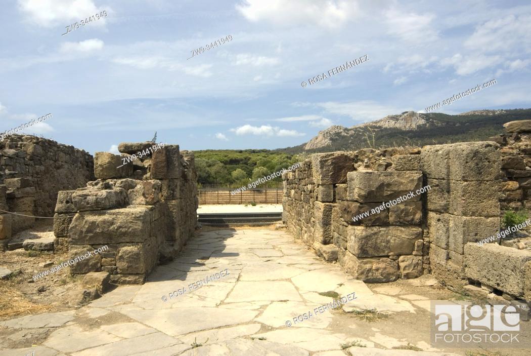 Stock Photo: Ruins of the Roman town of Baelo Claudia, Bolonia, archaeological site, II century, Tarifa, province of Cádiz, Andalucia, Spain.