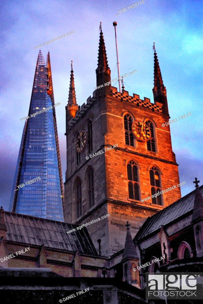 Stock Photo: Southwark Cathedral  from the late Middle Ages, and The Shard, Europe's tallest office building, in the heart of London, England.