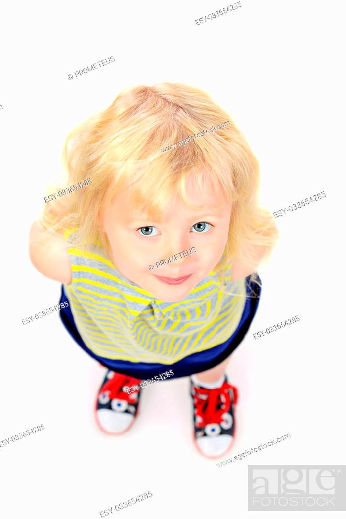 Stock Photo: Angelic little girl with beautiful blonde hair. Happy childhood. Kid's beauty, fashion. Isolated over white.