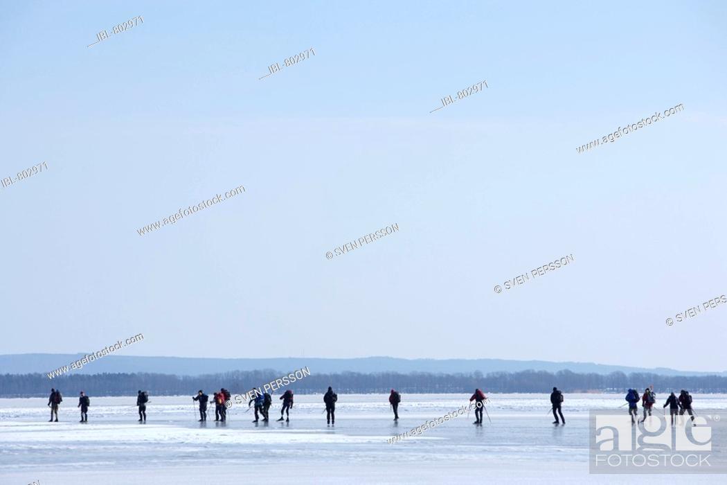 Stock Photo: People skates on a frozen lake., Ivösjön, Skåne, Sweden.