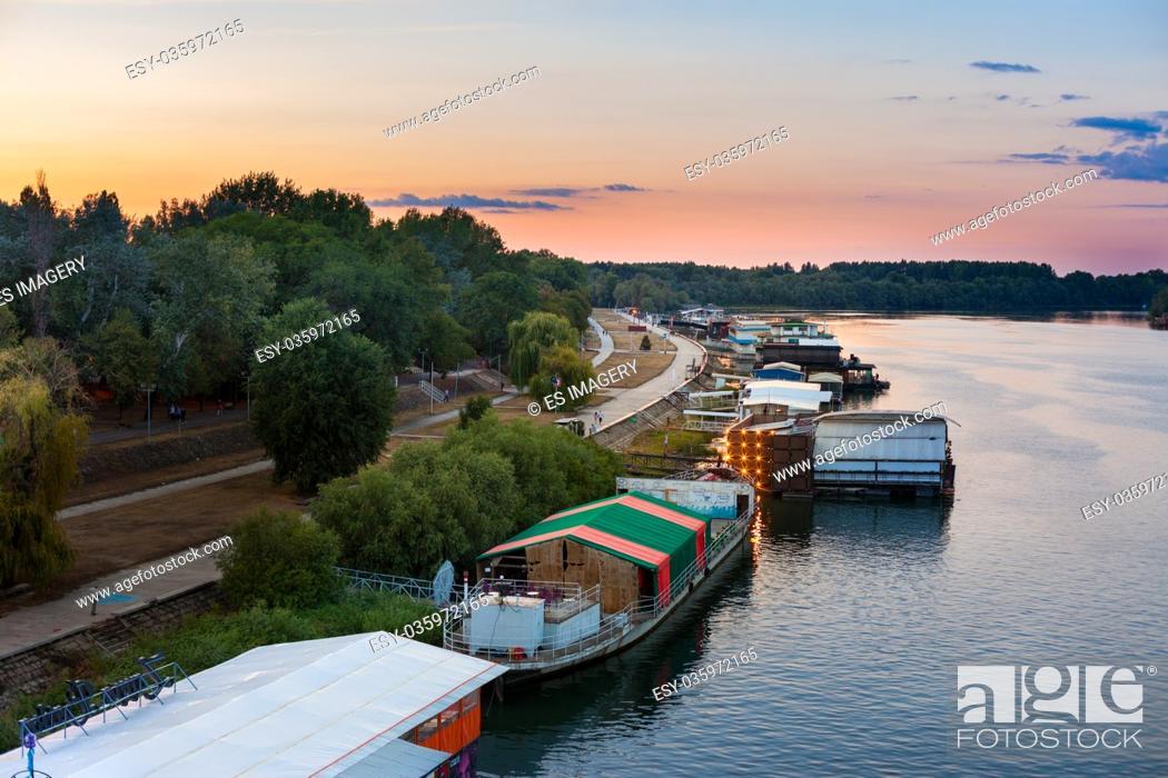 Stock Photo: Splav (river barge) night clubs on the Sava, Belgrade, Serbia.