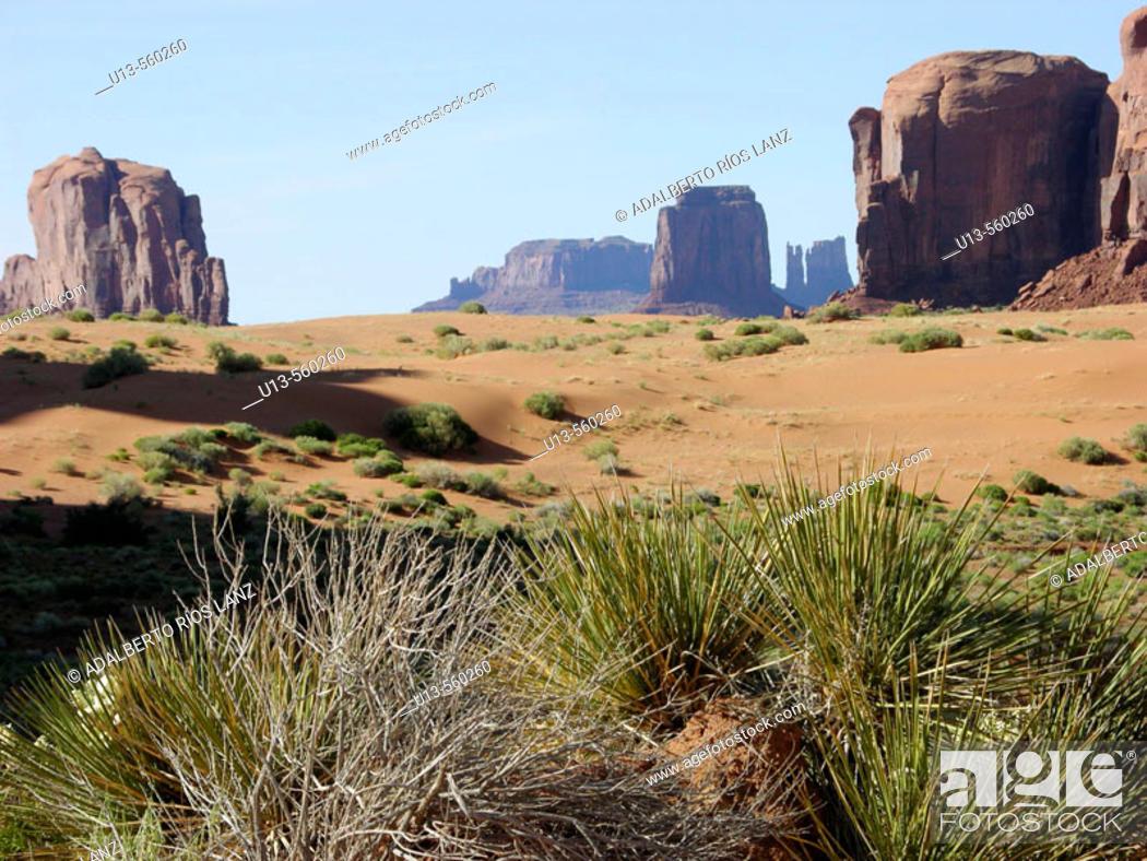 Stock Photo: Rock Formations Sand Red Dunes Shrub Desert Southwestern Monument Valley Navajo Nation Arizona United States.