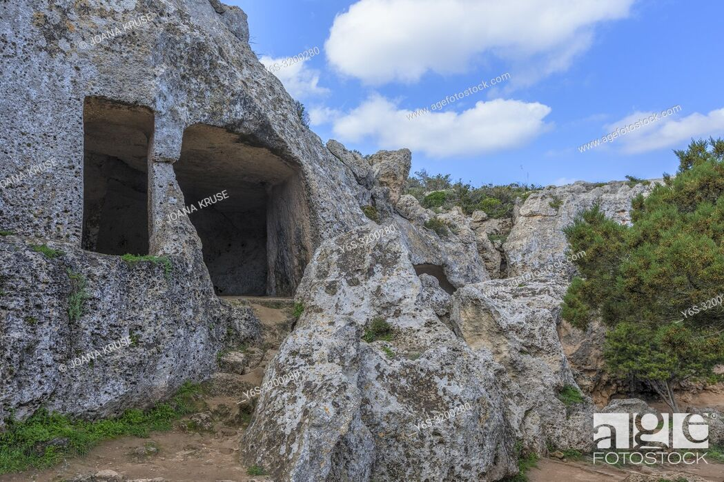 Stock Photo: Necropolis Cala Morell, Menorca, Balearic Islands, Spain, Europe.