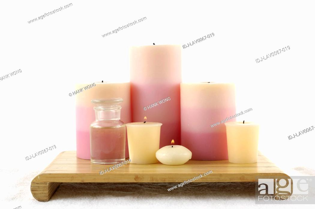 Stock Photo: candles burning in spa.