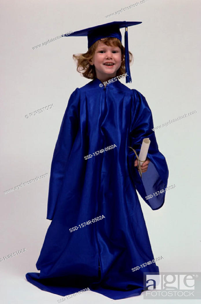Stock Photo: Portrait of a girl wearing a graduation outfit.