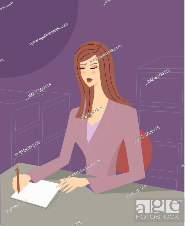 Stock Photo: A business assistant taking notes in an office.