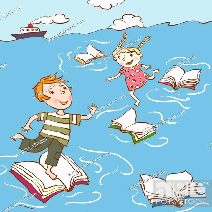 Stock Photo: Two children hopping across floating books in the sea.