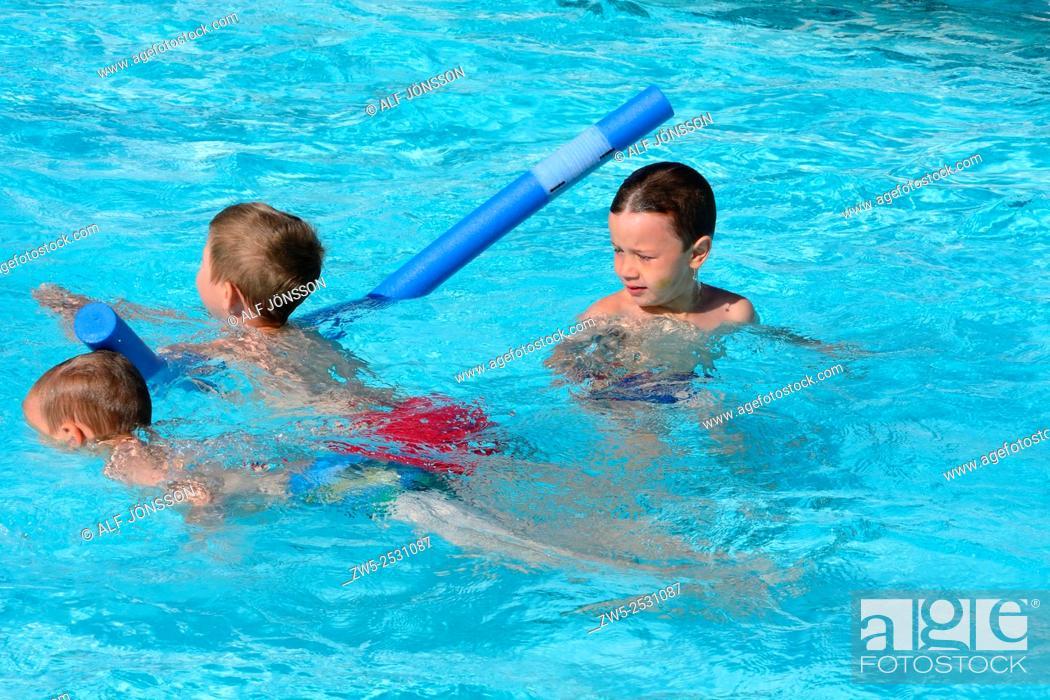 Stock Photo: Boys in a swimming school in Ystad, Sweden.