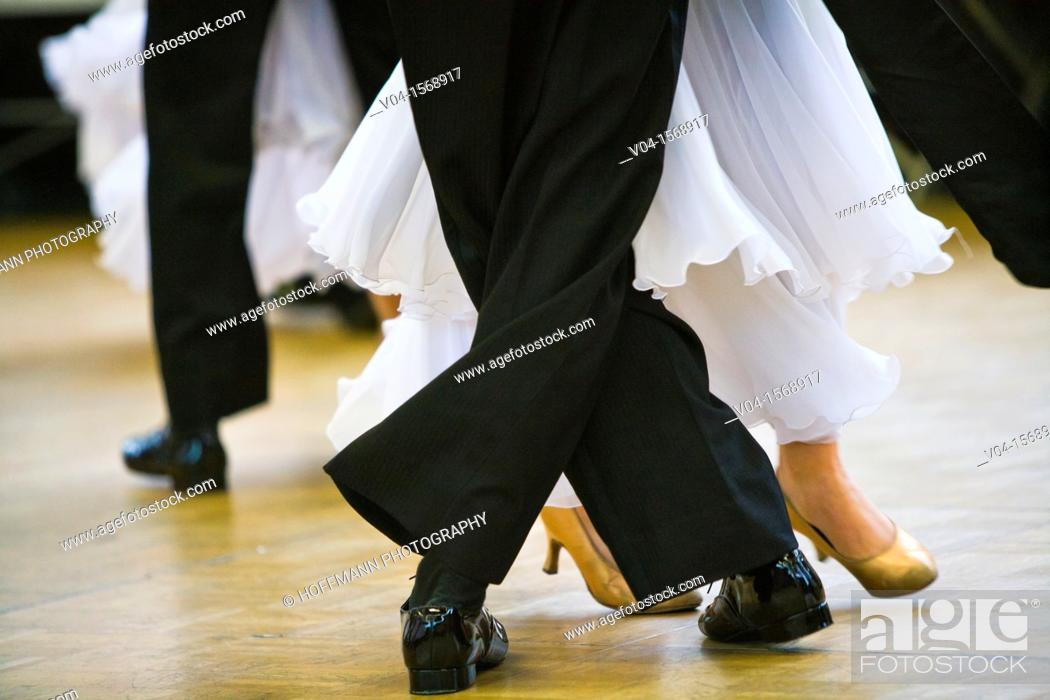Stock Photo: Couples at ballroom dancing at a dancing competition, Germany, Europe.