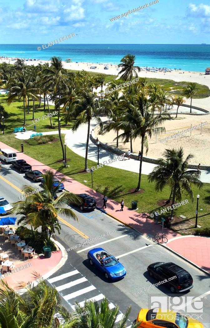 Stock Photo: View at the Lummus Park and the beach, Ocean Drive, South Beach, Miami Beach, Florida, USA.