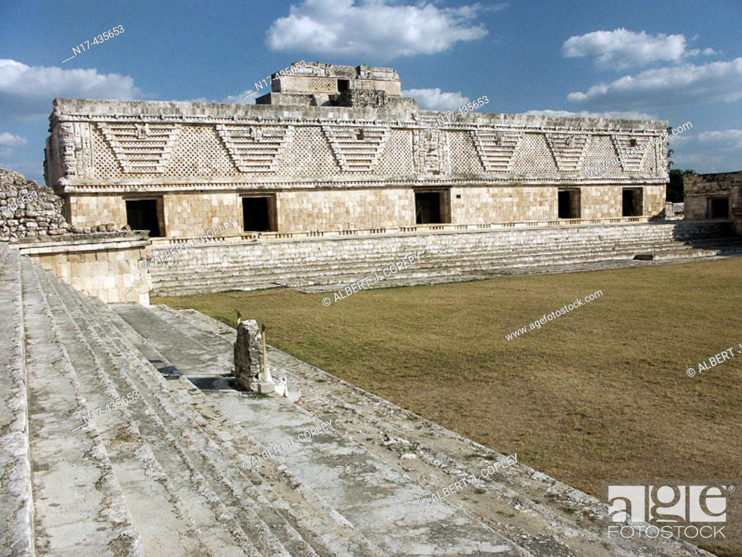 Stock Photo: Nunnery Quadrangle in Uxmal, Pre-Columbian ruined city of the Maya civilization (late Classic period 600 - 900 A.D.). Yucatan, Mexico.
