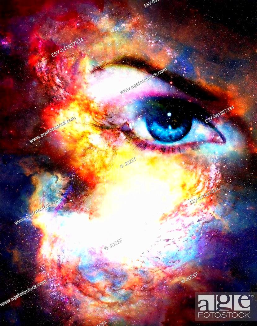 Photo de stock: Woman eye in cosmic background. Painting and graphic design.