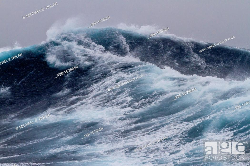 Stock Photo: Huge seas and waves in a Beaufort scale 10 storm in the Drake Passage between the Antarctic Peninsula and South America, Southern Ocean.