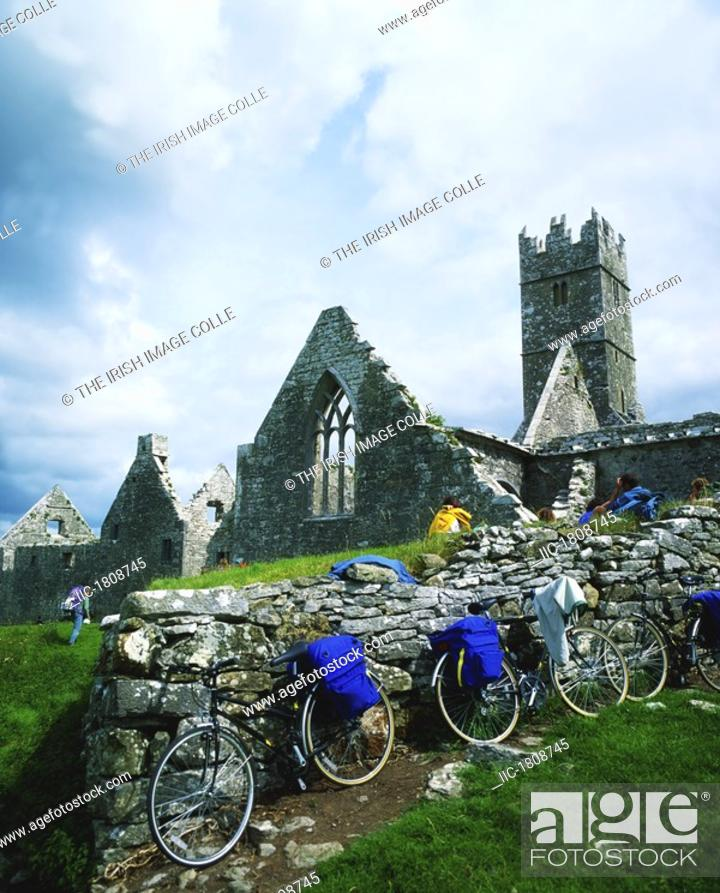 Stock Photo: Touring, Cyclists At Ross Errilly, Headford Co Galway,.