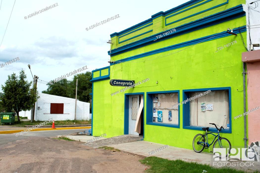 Stock Photo: Main wall of a green house in Minas city, Uruguay.