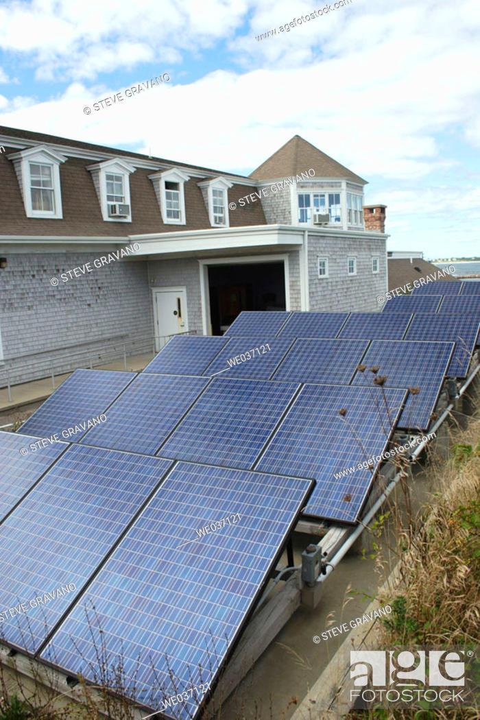 Photo de stock: Solar Panels, Block Island. Rhode Island, USA.