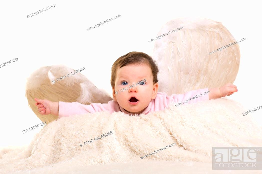 Stock Photo: baby girl angel with feather white wings.