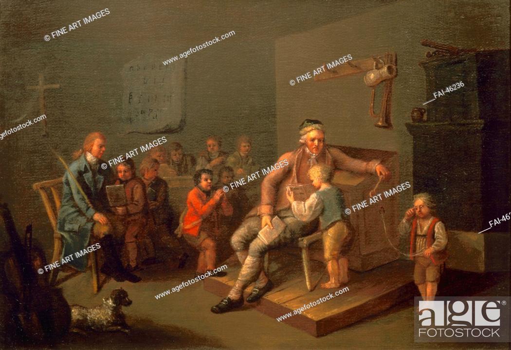 Stock Photo: Boy primary school lesson by Anonymous /Oil on canvas/Rococo/c. 1750/Austria/Vienna Museum/Genre/Painting/Unterricht in einer Knabenvolksschule von Unbekannter.