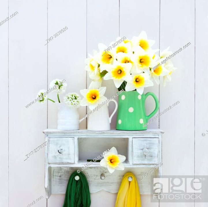Stock Photo: Narcissus and Primula flowers in ceramic containers on wooden shelf, still life.