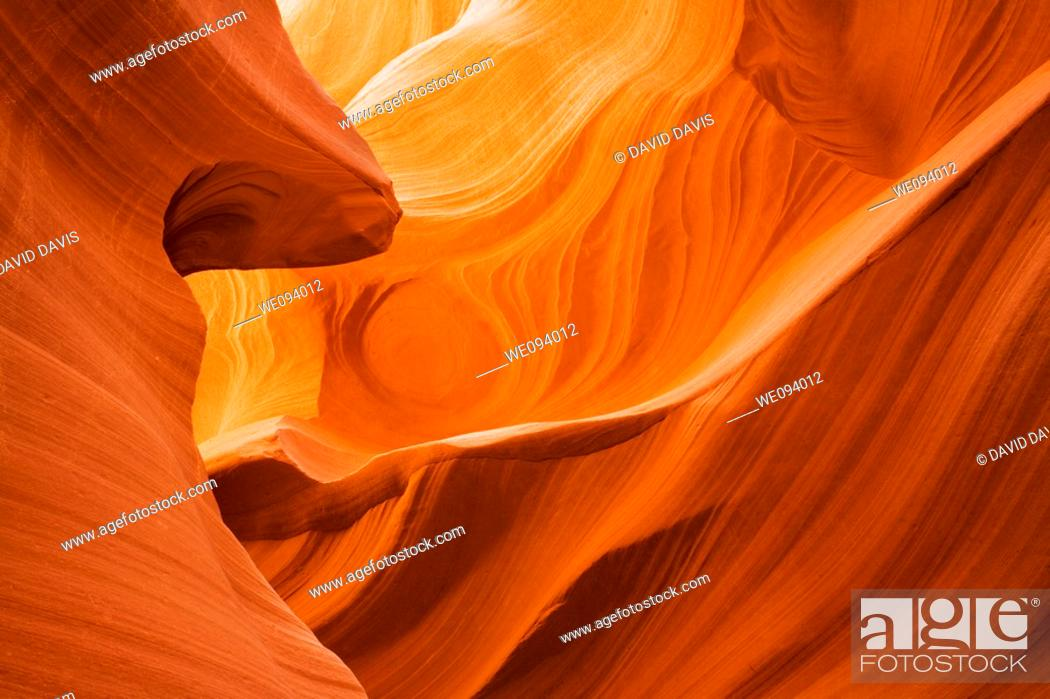 Stock Photo: Lower Antelope Canyon located near Page Arizona on the Navajo reservation  A slot canyon is a narrow canyon, formed by the wear of water rushing through rock.