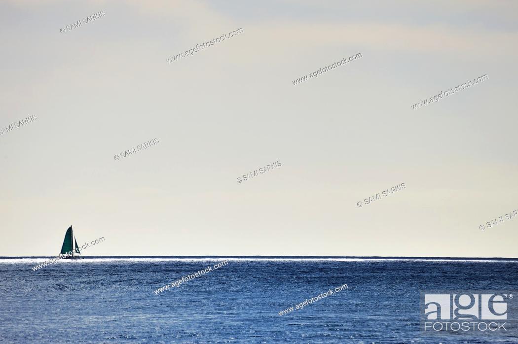 Stock Photo: Sailboat on horizon line, Honolulu, Oahu Island, Hawaii Islands, USA.