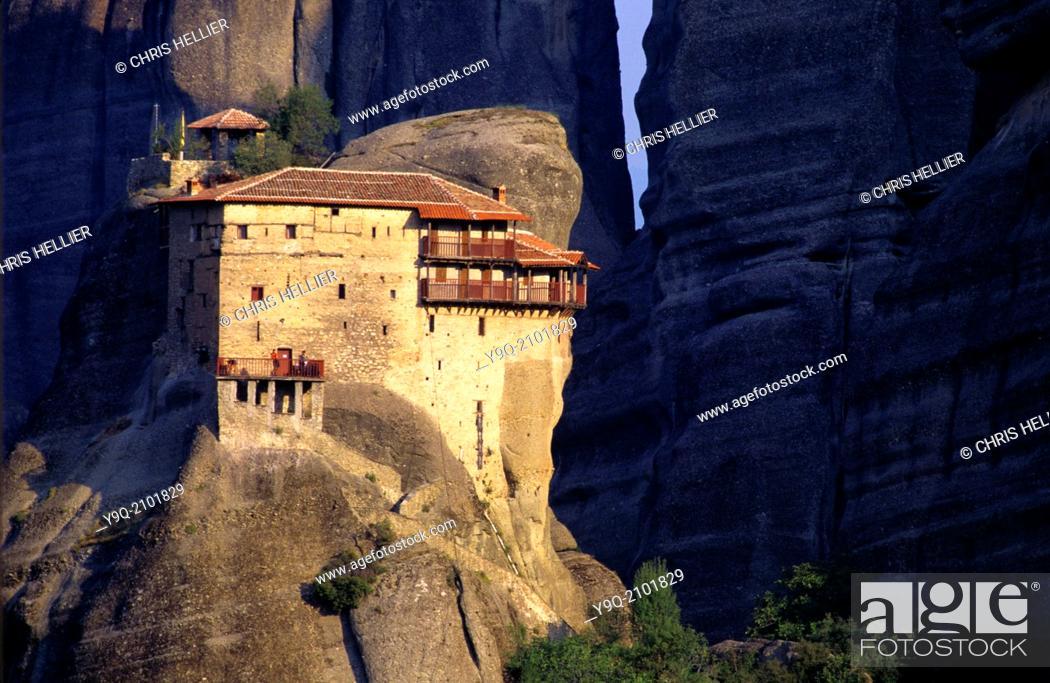 Stock Photo: Perched Monastery of Saint Nicholas Anapausas Meteora Thessaly Greece.