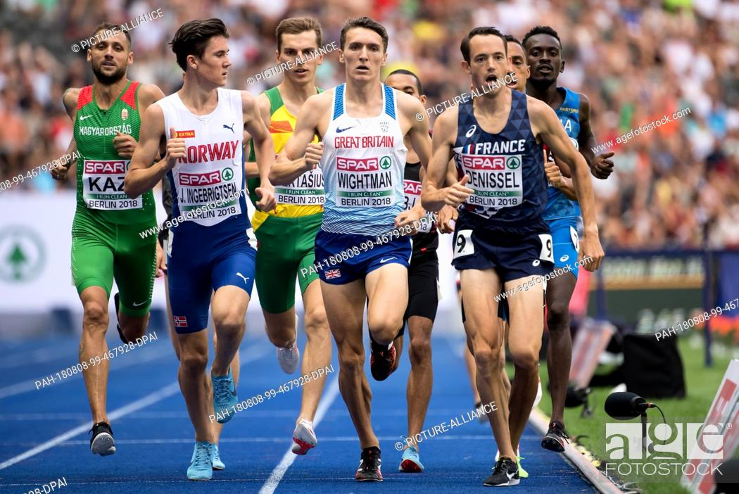 Stock Photo: 08.08.2018, Berlin: Athletics: European Championships in the Olympic Stadium: 1500m, heat, men: Jakob Ingebrigtsen (front l-r) from Norway.