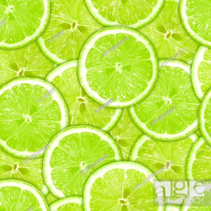 Stock Photo: Seamless pattern of green lime slices.