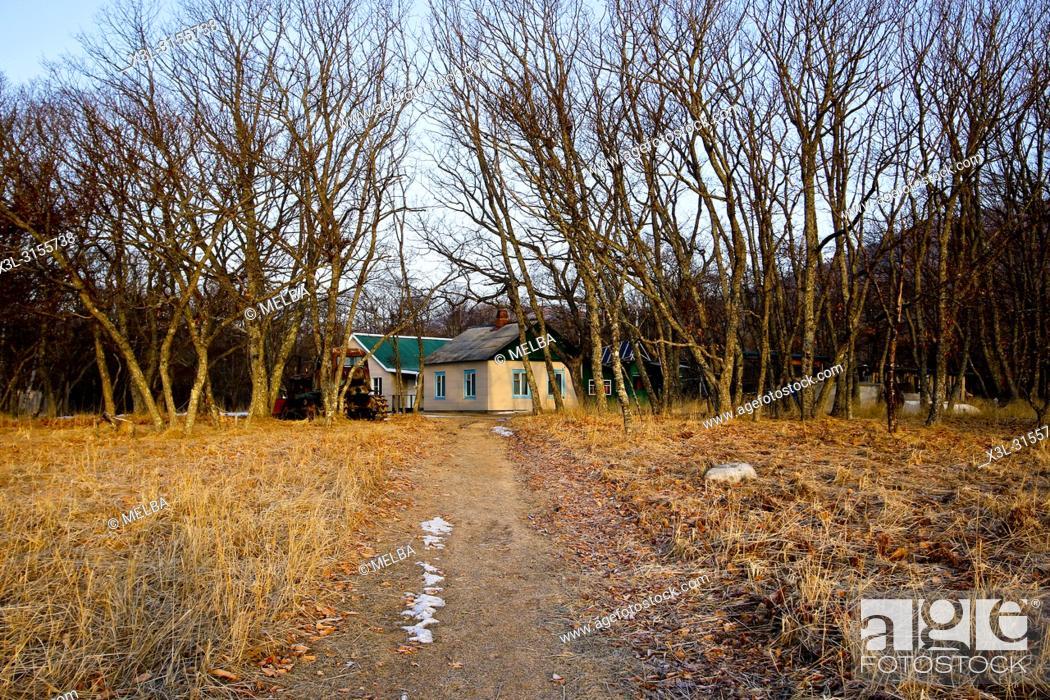 Stock Photo: Ranger's Dwelling. Petrova cordon. Lazovsky Nature Reserve, Sikhote-Alin mountain range. Primorsky Krai. Russia, Asia.