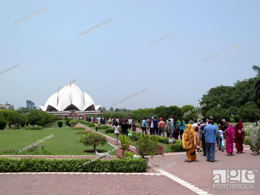 Stock Photo: People in line at the Lotus Temple, New Delhi, India.