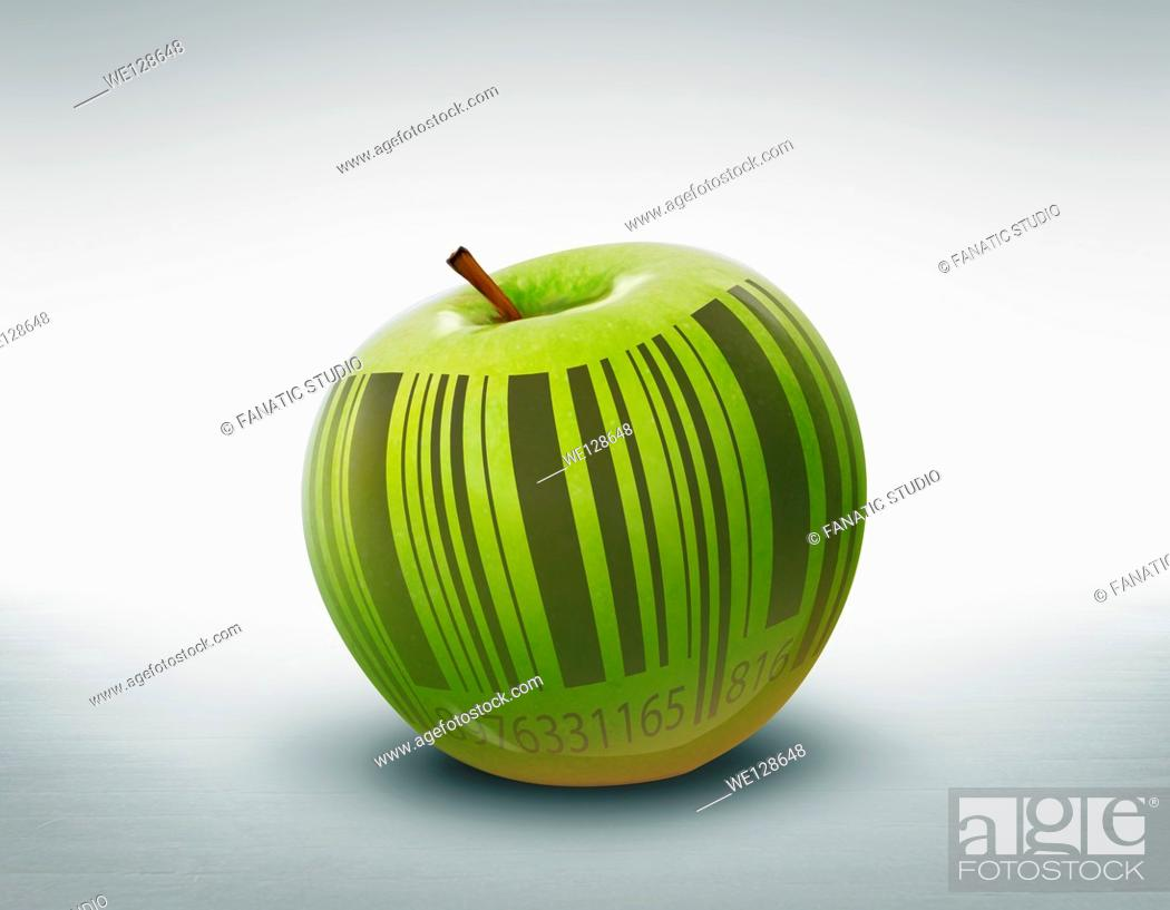 Stock Photo: Illustration of green apple with barcode over colored background.