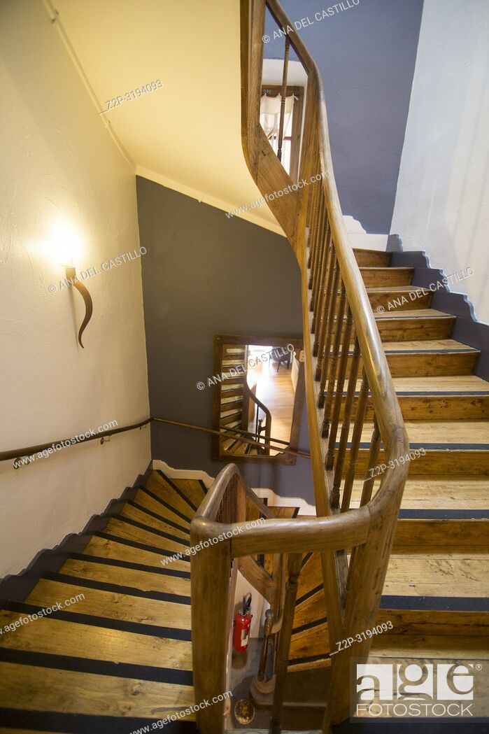 Stock Photo: Wooden staircase in building France.