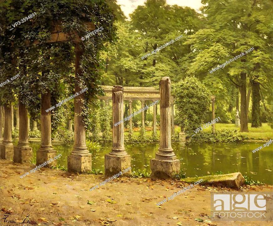 Stock Photo: Biva Henri - Le Parc Monceau - French School - 19th Century.