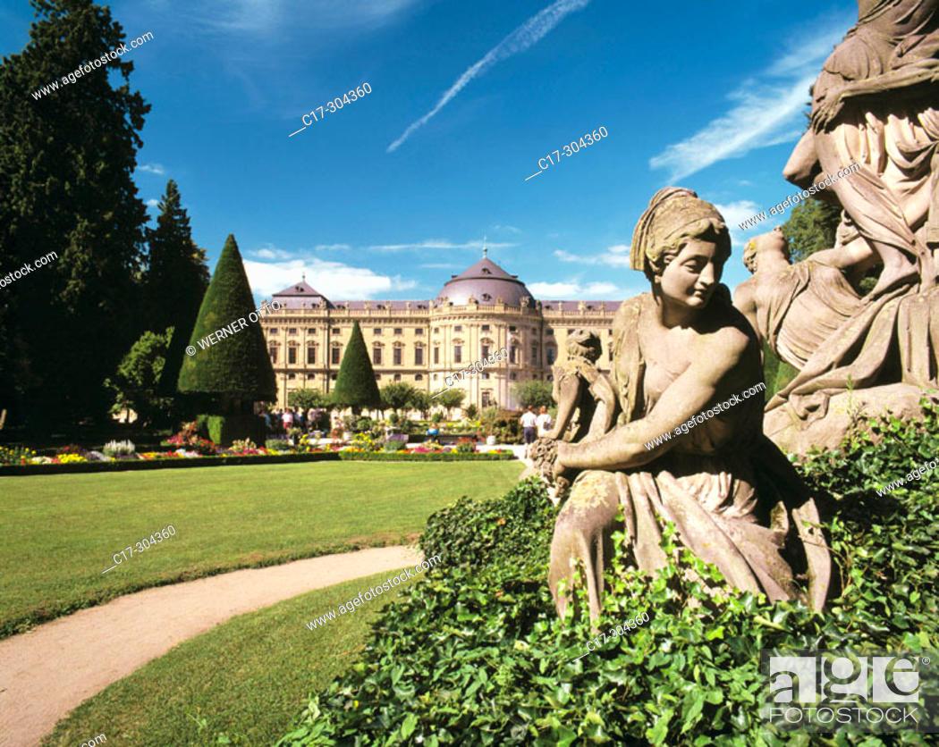 Stock Photo: Germany, Würzburg, Main, Franconia, Bavaria, residence, Hofgarten Park, Hof Garden, baroque, sculptor Balthasar Neumann.