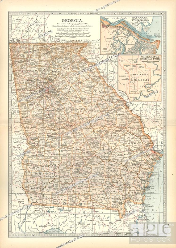 Map of Georgia, United States, with inset maps of Savannah and ... Inset In The United States Map With on elevation united states, latitude united states, region united states, longitude united states, culture united states, globe united states, continent united states, mountain united states, geography united states, climate united states,