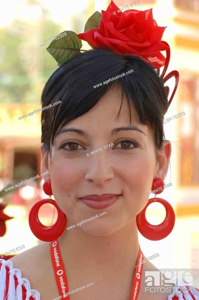 Stock Photo: Girl in traje de gitana , Feria de Caballo , Jerez de la Frontera , Cadiz , Andalusia , Spain , Europe.