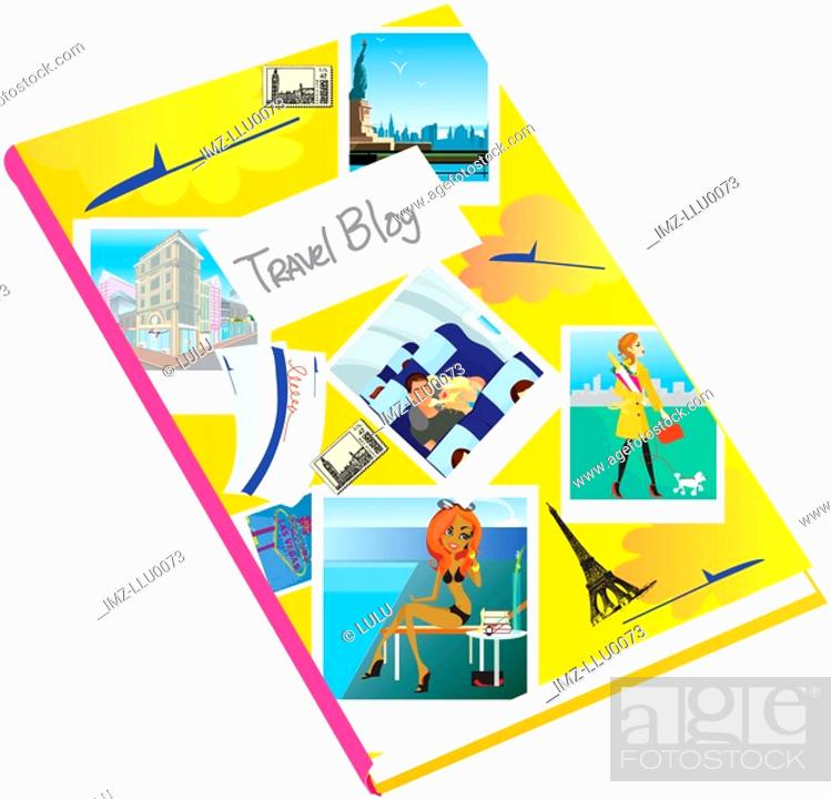 Stock Photo: A journal covered with photographs and the words Travel Blog.